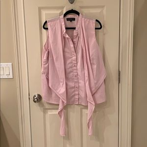 Pink sleeveless top with tie front